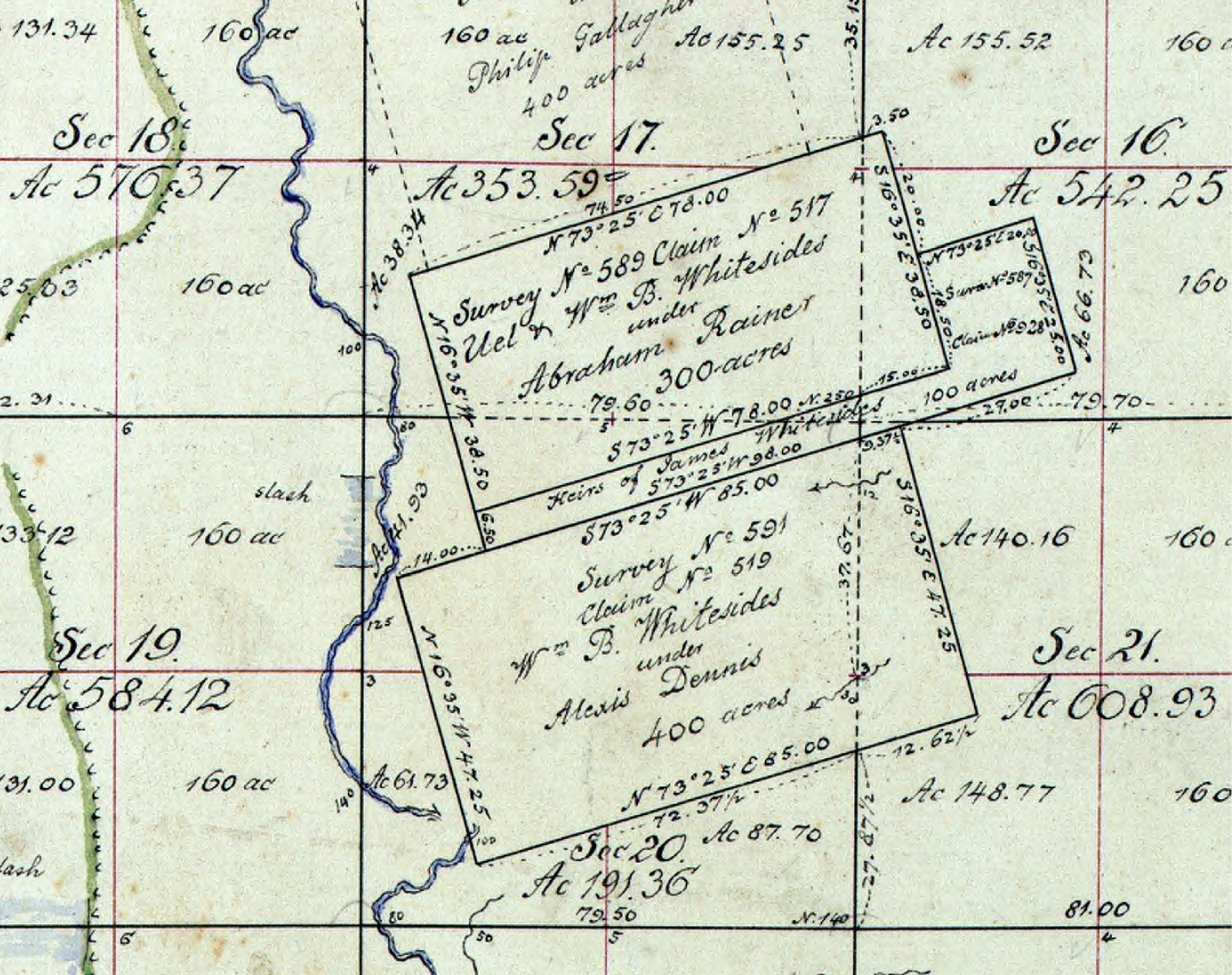 1815 Plat Map of Whiteside land